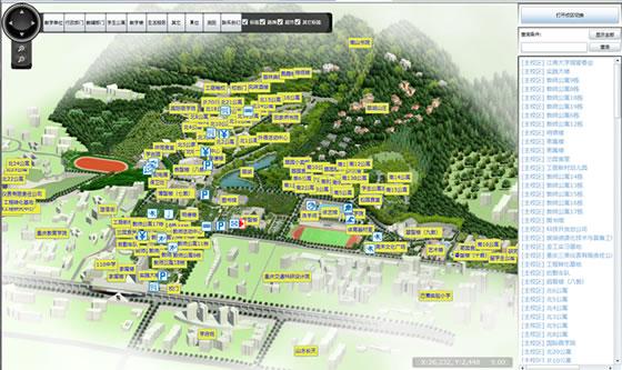 三维虚拟校园系统,以真实校园为整体蓝本(校?#23433;?#23616;设计,交通,景观